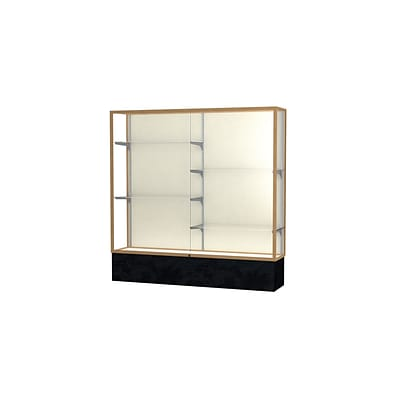 Waddell Monarch 72W x 72H x 16D Lighted Floor Case, Plaque Back, Champagne Fin, Black Marble Base