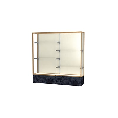 Waddell Monarch 72W x 72H x 16D Lighted Floor Case, Plaque Back, Champagne Fin, Silver Swirl Base