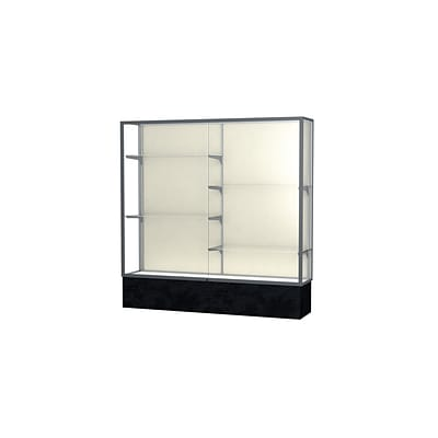 Waddell Monarch 72W x 72H x 16D Lighted Floor Case, Plaque Back, Satin Finish, Black Marble Base