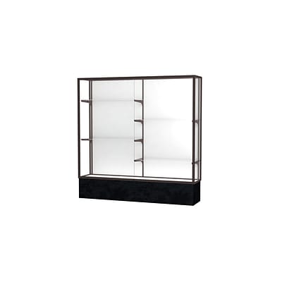 Waddell Monarch 72W x 72H x 16D Lighted Floor Case, White Back, Dk. Bronze Fin, Black Marble Base