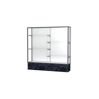 Waddell Monarch 72W x 72H x 16D Lighted Floor Case, White Back, Satin Finish, Silver Swirl Base