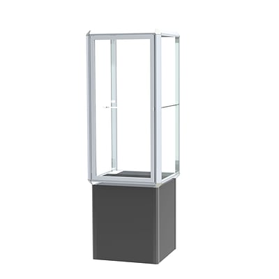 Waddell Prominence Spotlight 24W x 72H x 24D Lighted Tower Case, Clear Glass Back, Chrome Finish