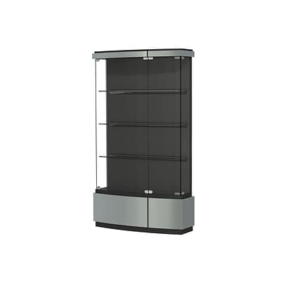 Waddell Quantum 42x73x12 Lighted Floor Case, Black Textured Laminate Back, Brushed Silver Finish