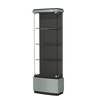 Waddell Quantum 29x73x12 Lighted Floor Case, Black Textured Laminate Back, Brushed Silver Finish