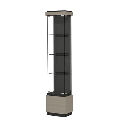 Waddell Quantum 16W x 73H x 12D Lighted Tower Case, Black Textured Laminate Back, Elm Finish