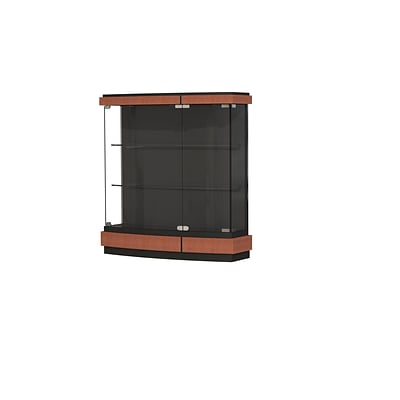 Waddell Quantum 42W x 44H x 12D Lighted Wall Case, Black Textured Laminate Back, Cherry Finish