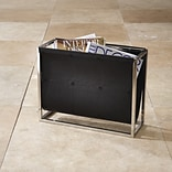 Global Views Magazine Caddy Rack; Black Leather