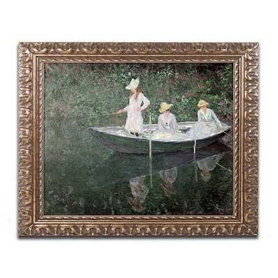 Trademark Global Claude Monet The Boat at Giverny Ornate Framed Art 16L x 20W (BL01179-G1620F)