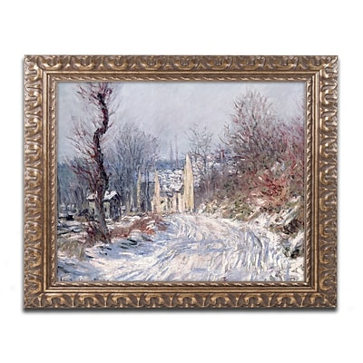 Trademark Global Monet The Road of Giverny Winter 1885 Ornate Framed Art 16 x 20 (BL0334-G1620F)