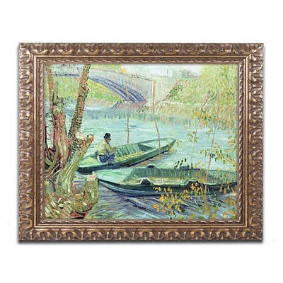 Trademark Global van Gogh Fishing in the Spring 16 x 20 Ornate Framed Art (BL0779-G1620F)