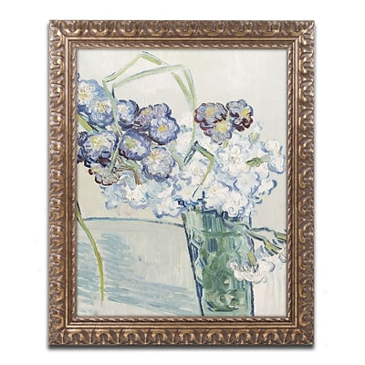 Trademark Global Van Gogh Still Life Vase of Carnations Ornate Art, 16x20, Framed (BL0936G1620F)