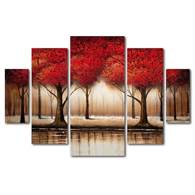 Trademark Global Rio Parade of Red Trees Multi-Panel Art Set 40 x 58 (MA0301-P5-SET)