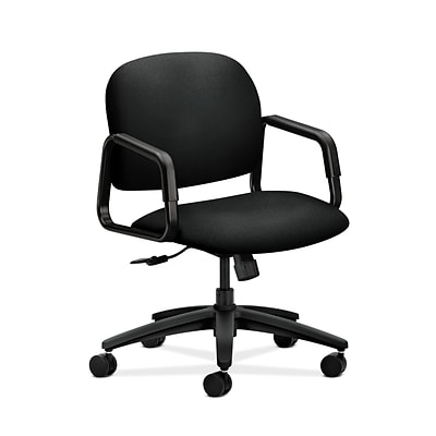 HON HON4002CU10T Solutions Seating Mid-Back Office/Computer Chair, Fixed Arms, Black Fabric