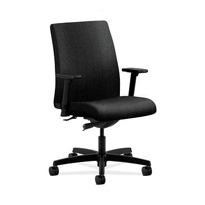 HON HONIT103AB10 Ignition Low-Back Office/Computer Chair, Adjustable Arms, Black Fabric