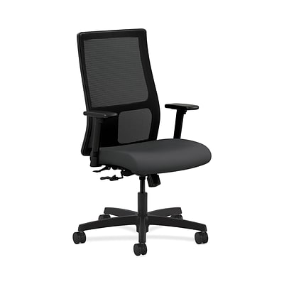 HON HONIW101SX23 Ignition Mesh Fabric-Upholstered Mid-Back Office/Computer Chair, Adj. Arms, Carbon
