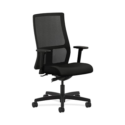 HON HONIW103WP40 Ignition Fabric-Upholstered Mesh Mid-Back Office/Computer Chair, Adj. Arms, Black