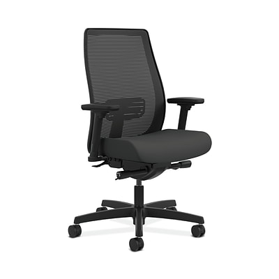 HON HONLWIM2ACU19 Endorse Fabric-Upholster Mesh Mid-Back Office/PC Chair, Adj. Arms, Iron Ore