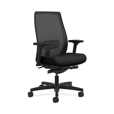 HON Endorse Collection HONLWIM2AUR10 Mesh Mid-Back Office/Computer Chair, Adj. Arms, Black Fabric
