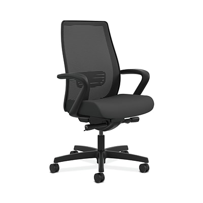 HON HONLWIM2FCU19 Endorse Fabric-Upholster Mesh Mid-Back Office/PC Chair, Fixed Arms, Iron Ore