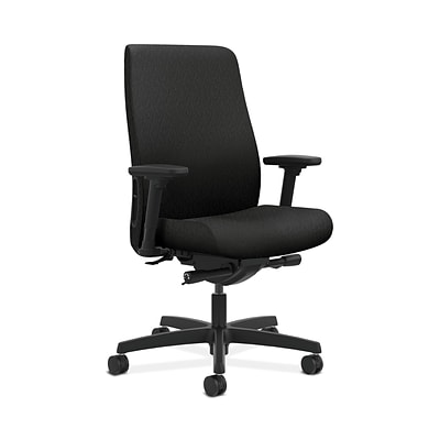 HON HONLWU2ANT10 Endorse Collection Black Fabric Mid-Back Office/Computer Chair, Adjustable Arms