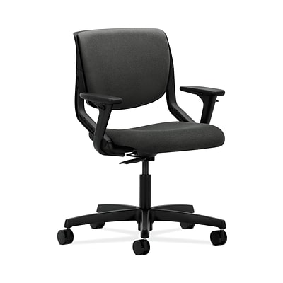 HON Motivate HONMT102AB12 Upholstered Back Office/Computer Chair, Adj. Arms, Onyx Shell, Gray Fabric