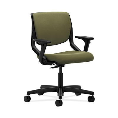 HON HONMT102CU82 Motivate Upholster Back Office/PC Chair, Adj. Arms, Onyx Shell, Olivine Fabric
