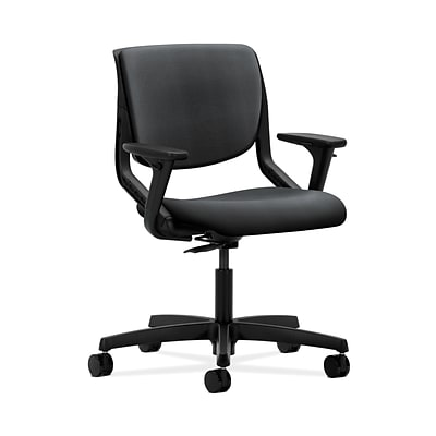 HON HONMT102NR10 Motivate Upholstered Back Office/Computer Chair, Adj. Arms, Onyx Shell, Onyx Fabric