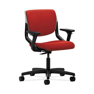 HON HONMT103CU66 Motivate Fabric Upholster Back Office/PC Chair, Adj. Arms, Platinum Shell, Tomato