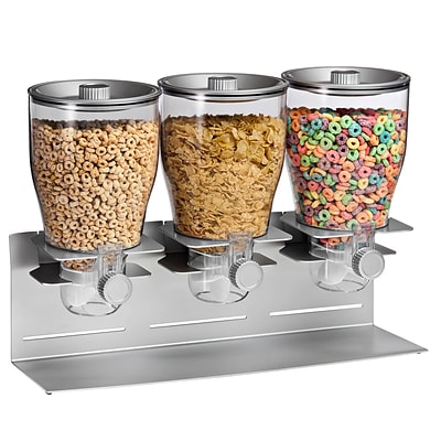 Honey Can Do Triple Canister Dry Food Cereal Dispenser, Stainless Steel (KCH-06151)