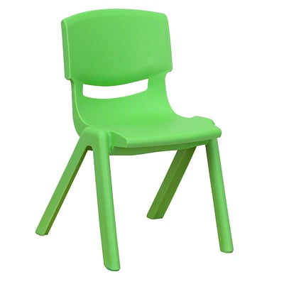 Flash Furniture Plastic Stackable School Chair with 12 Seat Height, Green (1YUYCX001GREEN)