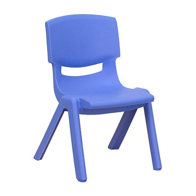 Flash Furniture Plastic Stackable School Chair with 10.5H Seat, Blue, 1YUYCX003BLUE