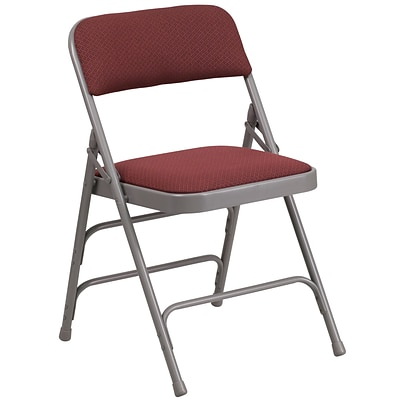 Flash Furniture Hercules Curved Triple-Braced, Double-Hinged Metal Folding Chair, Burgundy Patterned