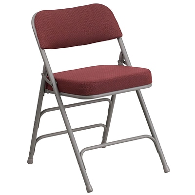 Flash Furniture Hercules Curved Triple-Braced, Double-Hinged Fabric-Upholstered Metal Folding Chair