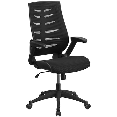 Flash Furniture Designer Mesh High Back Exec Swivel Office Chair w/Height Adj Flip-Up Arms, Black