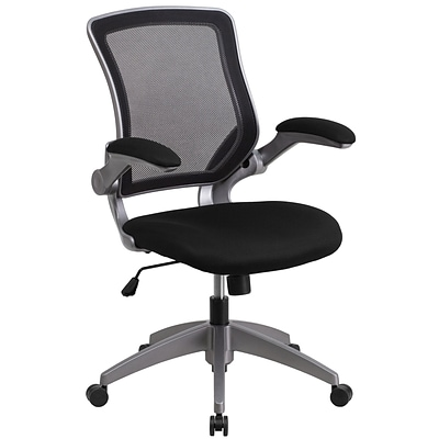 Mid Back Blk Mesh Swivel Task Chair W Gray Quill Com