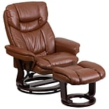 Flash Furniture Contemporary Brown Vintage Leather Recliner & Ottoman w/Swiveling Mahogany Wood Base