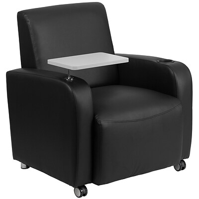 Flash Furniture Leather Guest Chair in Black w/Tablet Arm; Front Wheel Casters and Cup Holder
