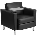 Leather Guest Chair Blk w/Tt Arm Tall Chrm