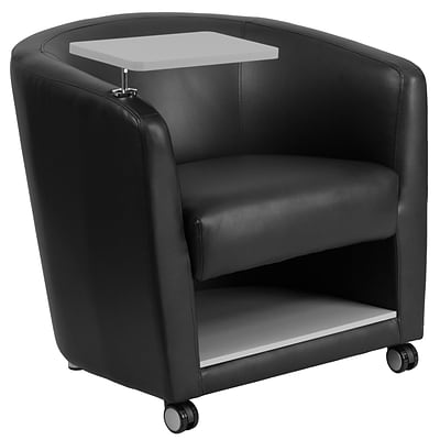 Flash Furniture Leather Guest Chair W/Tablet Arm, Front Wheel Casters And  Under