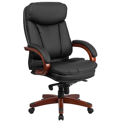 Flash Leather High-Back Exec Swivel Office Chair w/Synchro-Tilt Mechanism, Blk w/Mahogany Wood Base