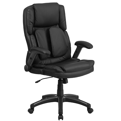 Flash BT90275H Leather Extreme Comfort High Back Exec Swivel Office Chair w/Flip-Up Arms, Black