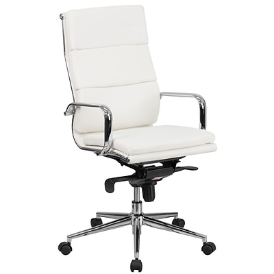Flash Furniture High-Back Leather Executive Swivel Office Chair w/Synchro-Tilt Mechanism, White
