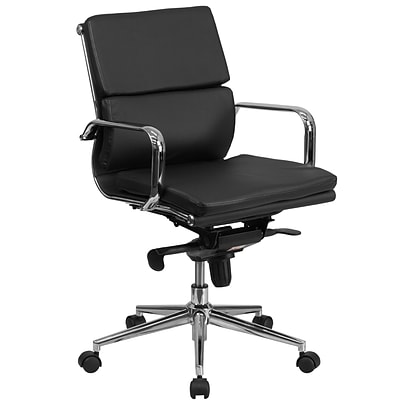 Flash Furniture Mid-Back Leather Executive Swivel Office Chair w/Synchro-Tilt Mechanism, Black