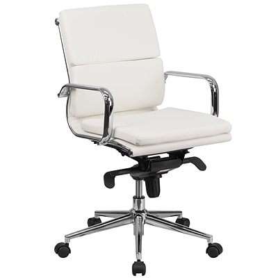 Flash Furniture BT9895MWH Mid-Back Leather Exec Swivel Office Chair w/Synchro-Tilt Mechanism, White