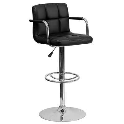 Flash Furniture Adjustable-Height Contemporary Quilted Vinyl Barstool, Black w/Chrome Arms and Base