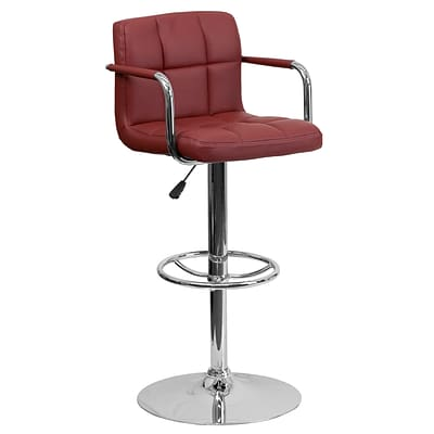 Flash Furniture Adjustable-Height Contemporary Barstool, Burgundy Quilted Vinyl, Arms & Chrome Base
