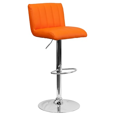 Flash Furniture Contemporary Adjustable-Height Vinyl Barstool, Orange with Chrome Base (CH112010ORG)