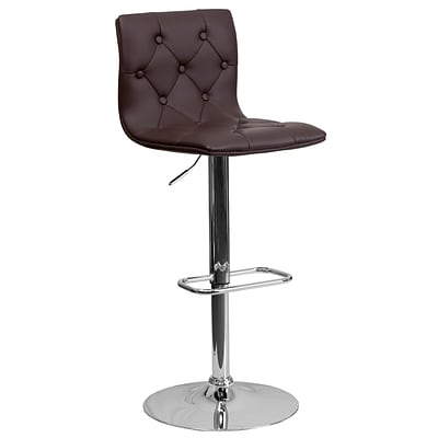 Flash Furniture Adjustable-Height Contemporary Tufted Brown Vinyl Barstool, Chrome Base CH112080BRN