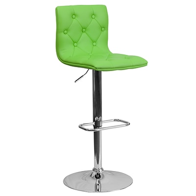 Flash Furniture 32.35 Contemporary Tufted Green Vinyl Adjustable Height Barstool w/Chrome Base, 4bx