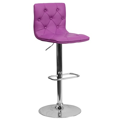 Flash Furniture Adjustable-Height Contemporary Tufted Vinyl Barstool, Purple w/Chrome Base